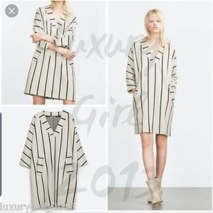 Zara cream black striped sweater dress